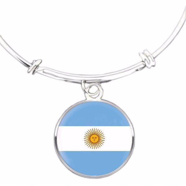 Argentinian Flag Bangle Bracelet