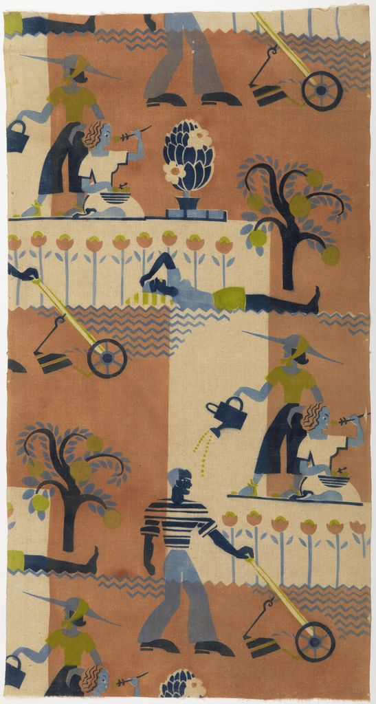 """Textile, """"Egyptian Garden"""", ca. Cotton.1939   air-brush stenciled on plain weave. Made by Lanette Scheeline. United States A man cutting the lawn, a woman gardening, and a woman sunbathing, all stylized as in Egyptian wall painting. Printed in dark blue, light blue, chartreuse and light brown on white."""