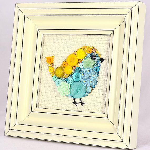 Vintage Teal Wall Decor : Framed button art teal bird handmade vintage