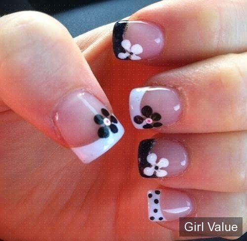70 best girl nail images on pinterest nail designs black and floral nail art design gives life to your nails by adding white polish on the tips with flower details on them dont forget to add simple stones or prinsesfo Choice Image