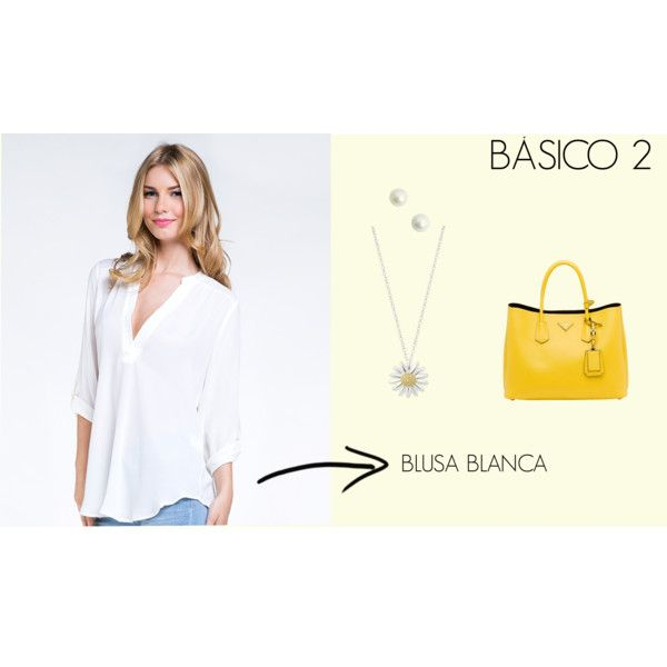 BASICO BLUSA BLANCA by marisol-fernandez-zumba on Polyvore featuring polyvore fashion style ZooShoo Prada Daisy Jewellery