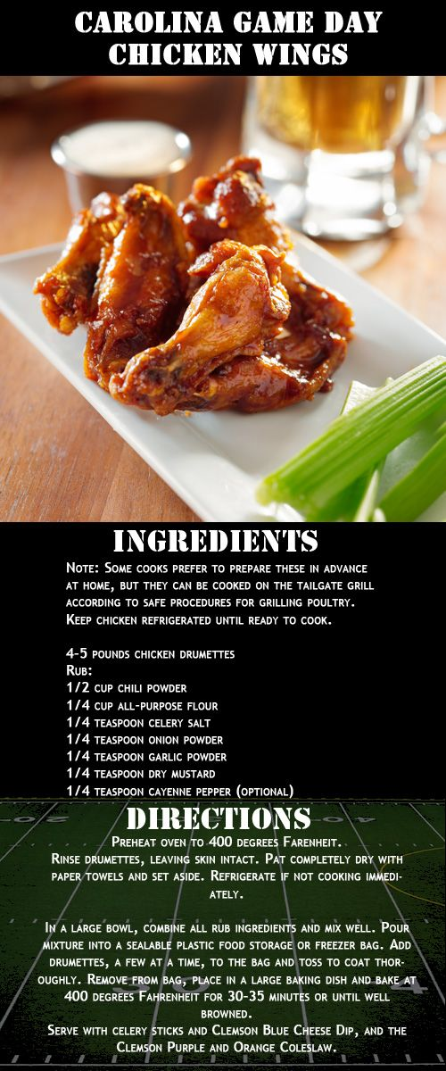 """Carolina Game Day Chicken Wings Recipe 