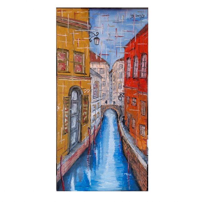 Benátky - olejomalba na plátno 30x60cm 2017/9