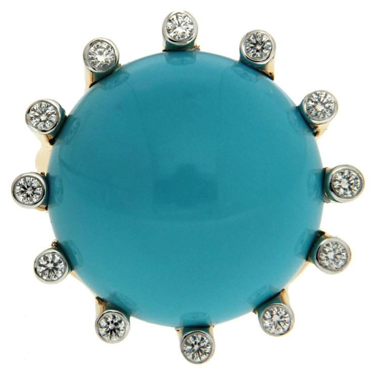 La Luna Round Turquoise Diamond Ring | From a unique collection of vintage cocktail rings at https://www.1stdibs.com/jewelry/rings/cocktail-rings/
