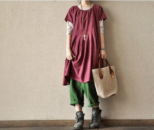 Women deep rose Long - short sleeves cotton dress length:41inches  AOLO-8, via Etsy