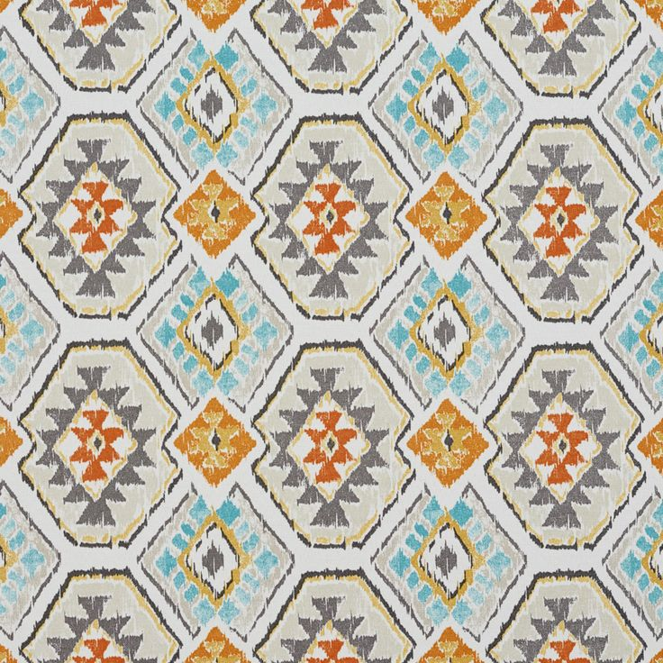 B053 Grey, Orange and Teal Southwestern Outdoor Indoor Upholstery Fabric By The Yard