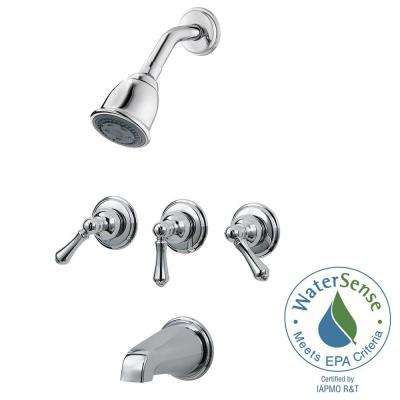 3 Handle Tub And Shower Faucet Trim Kit In Polished Chrome Valve