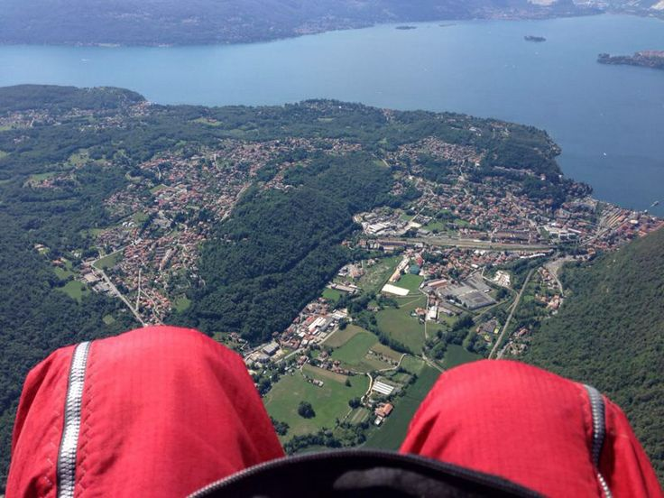 The Italian lakes from a paraglider.