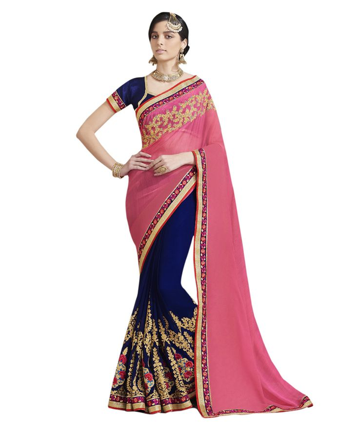 Buy Now Royal Blue-Pink Embroidery Work Georgette Half-Half Fancy Saree only at Lalgulal.com. Price :- 2,552/- inr. To ‪#‎Order‬ :- http://goo.gl/TC3UqT To Order you Call or ‪#‎Whatsapp‬ us on +91-95121-50402 COD & Free Shipping Available only in India.