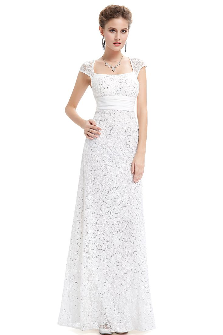 White Lace Sweetheart Neckline Maxi Dress - Sweetheart Dresses Online.