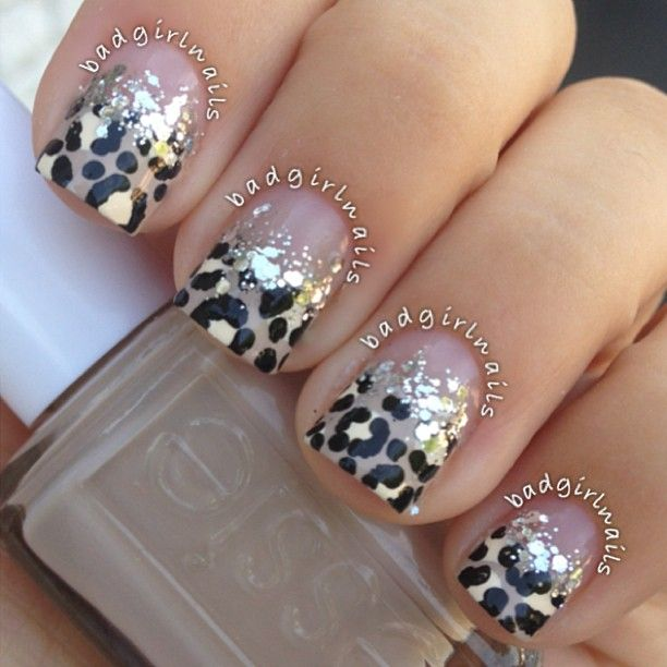 Glitter and leopard print nail design by badgirlnails - Best 25+ Leopard Nail Designs Ideas On Pinterest Pink Leopard