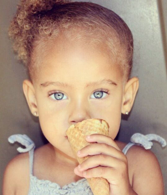 Beautiful baby girl with blue eyes ❤
