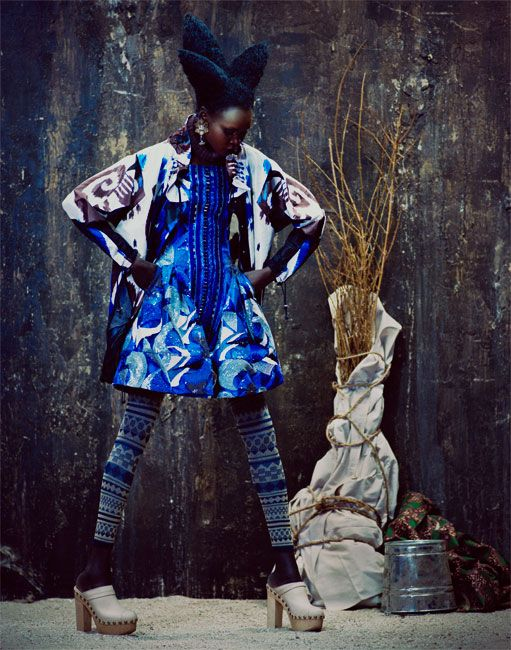 Magazine: Financial Times 'How To Spend It'  Editorial: Global Gathering  Photographer: Andrew Yee (Atelier Management)  Model: Alek Wek  Fashion Editor: Damian Foxe