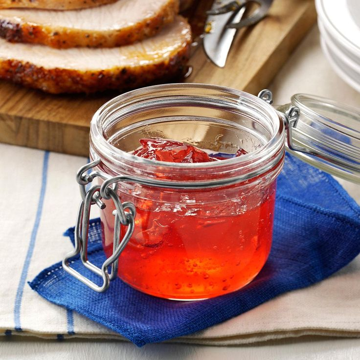 Rhubarb Jelly Recipe -To be honest, I don't especially like cooking. My husband, however, loves it! Now that he's retired, Bob's taken up making jelly. I help him with the pouring and skimming for this one—my own personal favorite. It's nice as both a breakfast spread and a topping for pork or other meat. Bob and I have two grown daughters an also a grandson.
