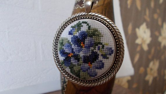 Medallion with pansy pendant by DoriArt on Etsy