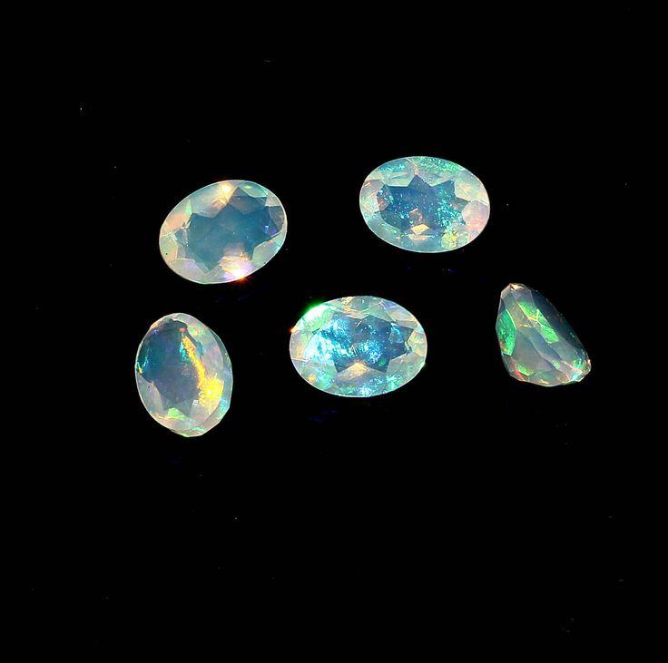 Indian Handmade Natural Ethiopian Opal,White Opal Cut,7 x 5 mm Opal Setting Size Gemstone,Fire Opal by AdornmixJewels on Etsy