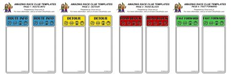 amazing race clues template. So fun and easy, they are word files! Cut and paste and print perfectly on card stock.