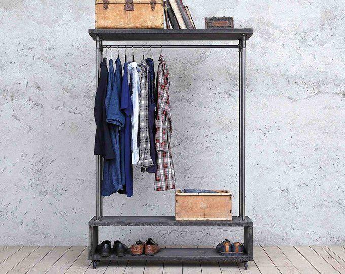 Nene Industrial Style Wooden Metal Clothes Rail Rack Stand Rustic Retro Vintage Mit Bildern Holz Retro Vintage Hangende Kleidung