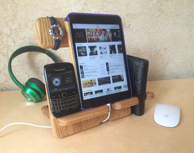 Desk organizer Anniversary Gifts for Men iPad by artWoodworking