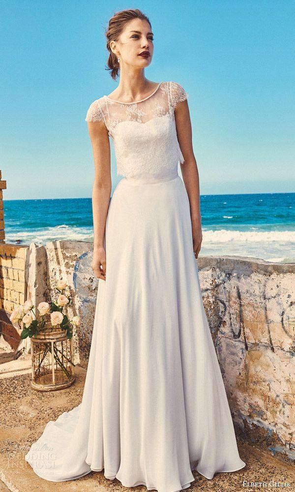 elbeth gillis milk honey 2017 bridal separates cap sleeve trumpet wedding dress (michelle lace top linda top shelby skirt) mv