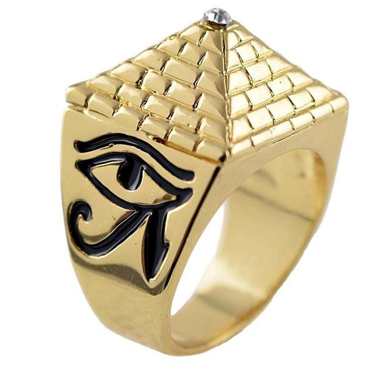 Real 18K Gold Plated Pyramid Ancient Egypt Eye of Horus Freemasonry Hip Hop Bling Ring