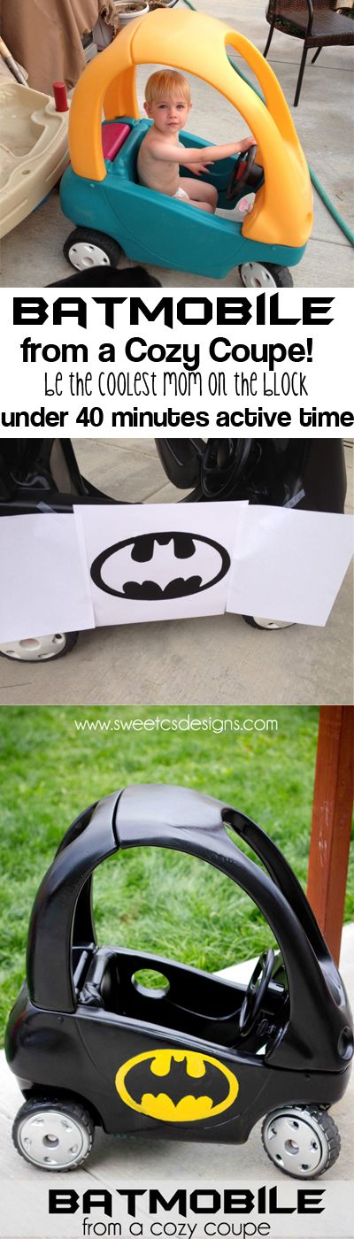 make a #batmobile from a thrift store kids car- only 40 minutes of active time to be the coolest mom on the block at sweetcsdesigns.com! #batman #kids #cricut