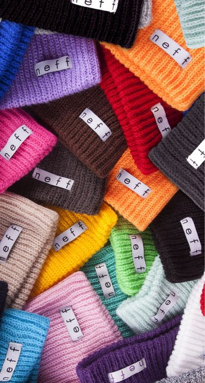 Neff beanies. i want that red one. and black one. and grey one. and orange. and white. just give me all. omg.