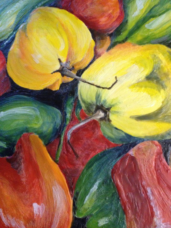 Encaustic painting of peppers.