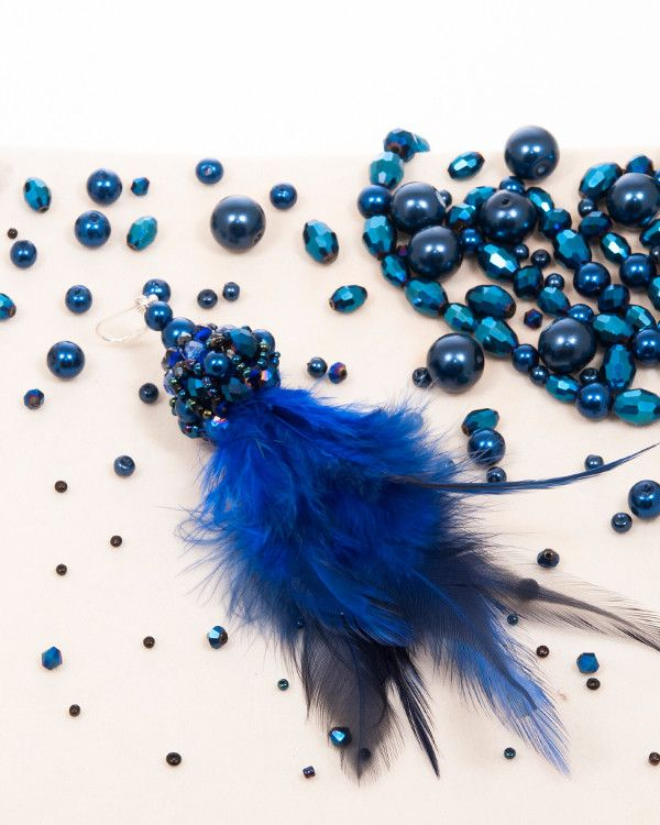 BLUE FEATHER DROP | cercei statement cu pene