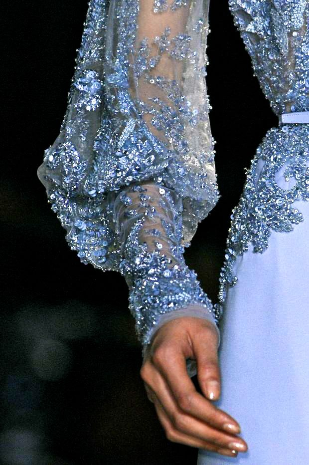 Elie Saab, model, runway, couture, haute couture, fashion, high fashion, fashion week, Paris Fashion Week, chiffon, tulle, sequins, crystals, gemstones, beading, sparkles, lace, floral, sky blue, detail, embroidery, vintage, velvet, Elie Saab Couture, couturier, princess, fairy tale, antique, Spring 2013,