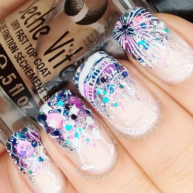best 25 new years eve nails ideas on pinterest nails for new years nageldesign winter. Black Bedroom Furniture Sets. Home Design Ideas