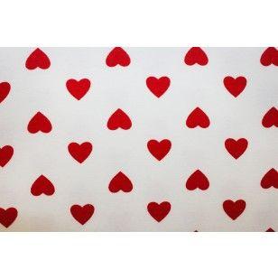 Kuviollinen trikoo: Sydämmet pienet (valkoinen pohja) 150cm.