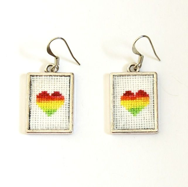 Rainbow Heart Cross Stitch Earrings with Silver Frames £10.00