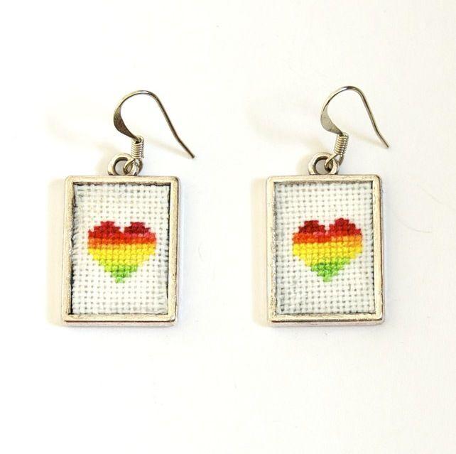 Rainbow Heart Cross Stitch Earrings with Silver Frames £10.00
