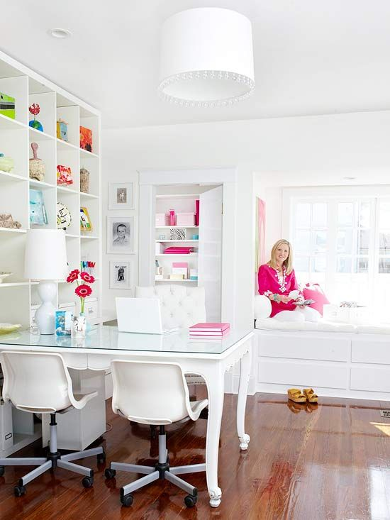 love the white!: Crafts Rooms, Offices Spaces, Scrapbook Rooms, Desks, White Office, Offices Ideas, Window Seats, Home Offices, Craft Rooms