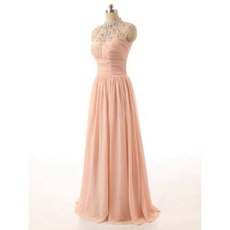 Halter Beaing Chiffon Pleat Formal Women Prom Dresses Floor Length A Line Short Sleeve Crystal Zipper Prom Party Dresses 44