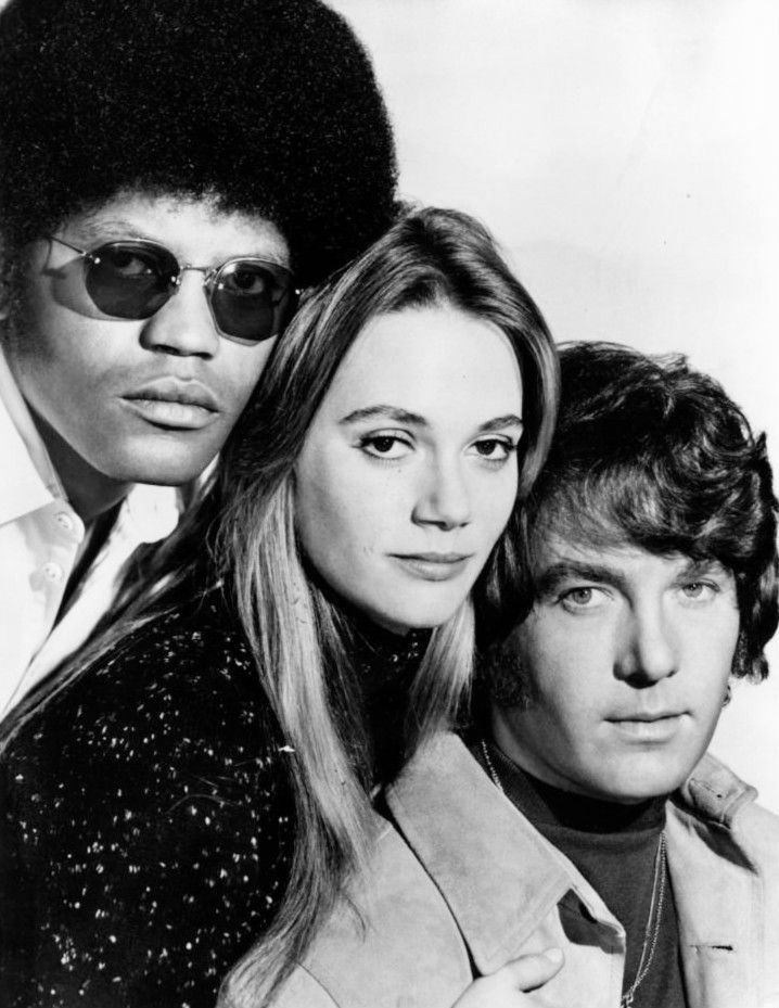 "Publicity photo from the television program The Mod Squad. The main cast is pictured, from left: Clarence Williams III, Peggy Lipton, Michael Cole.  The Mod Squad was the enormously successful groundbreaking ""hippie"" undercover cop show that ran from September 24, 1968, until August 23, 1973."