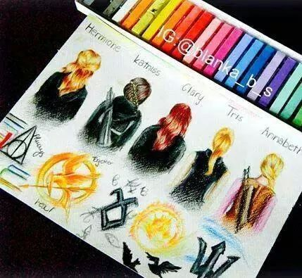 Hermione Granger (Harry Potter), Katniss Everdeen (The Hunger Games), Clary Fray (The Mortal Instruments), Tris Prior (Divergent), and Annabeth Chase (Percy Jackson)