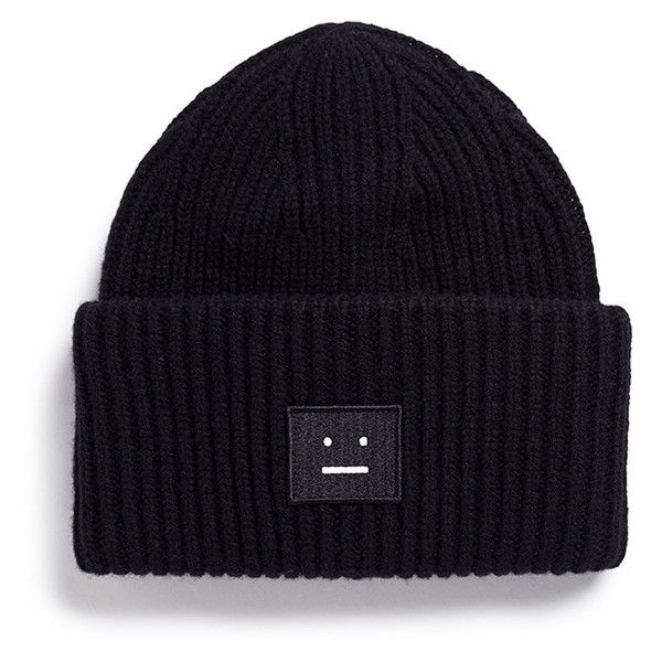 Acne Studios 'Pansy' emoticon patch wool beanie (975 SEK) ❤ liked on Polyvore featuring accessories, hats, black, headwear, fold beanie, rim hat, acne studios, patch hat and beanie cap hat
