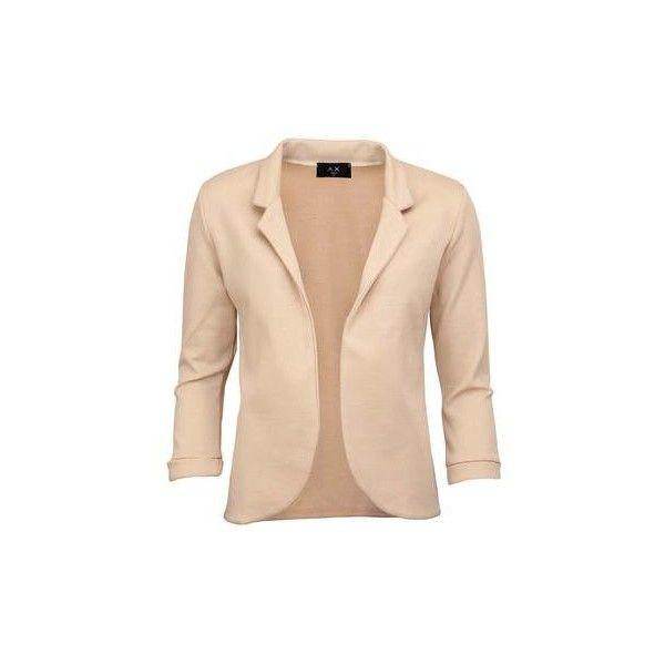 Elegantní sako AX Paris v béžové barvě via Polyvore