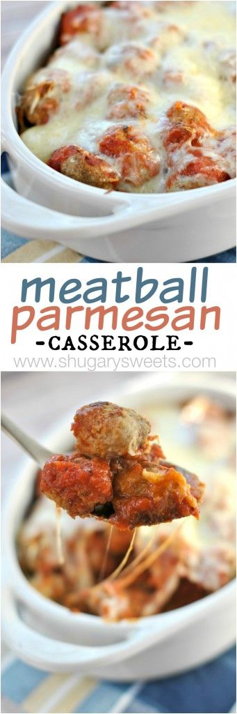 Meatball Parmesan Casserole, delicious baked turkey meatballs in a saucy, cheesy dish! Perfect on a sub sandwich!