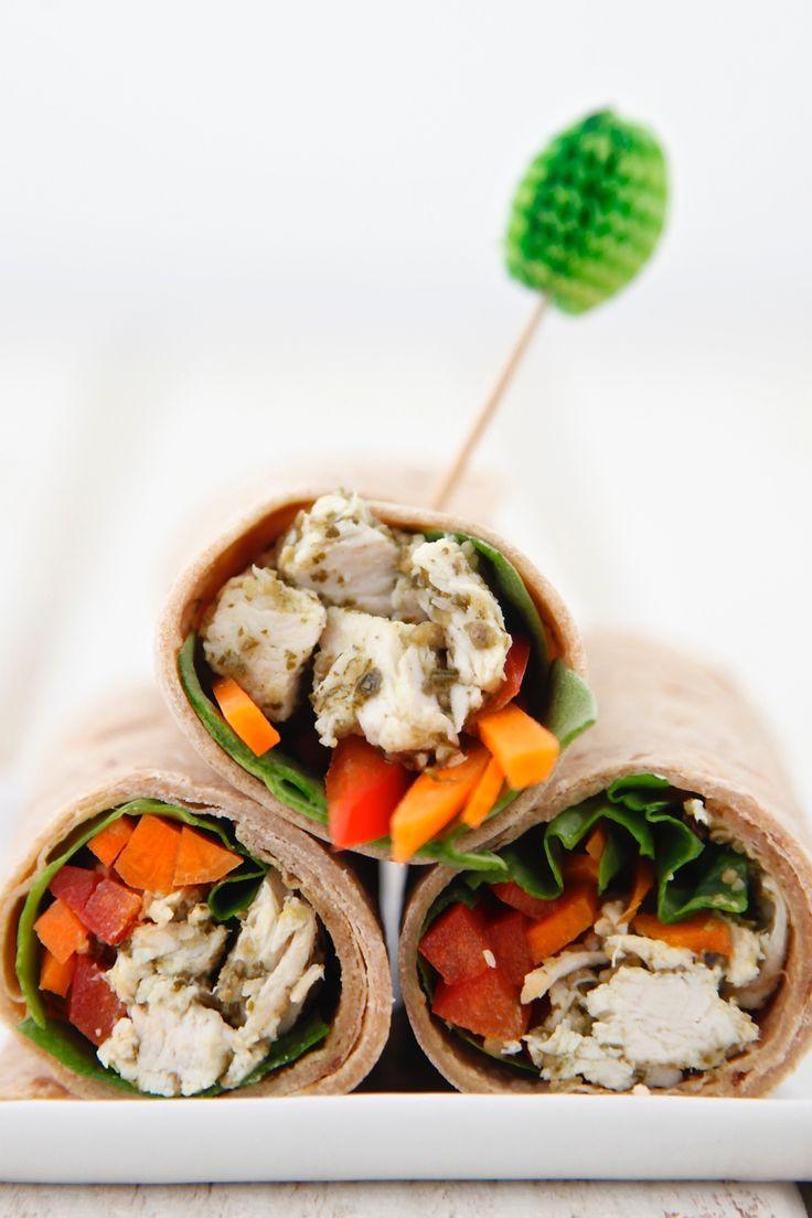 White apron dc nutrition - Chicken Pesto Wraps