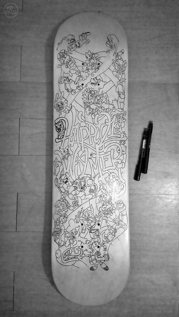 Skateboard Doodle Art by Lei Melendres, via Behance