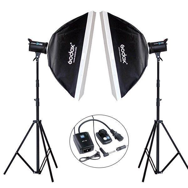 Godox 2*DE300 600W Photograp Studio flash Strobe Light Stand Trigger Softbox kit #Godox
