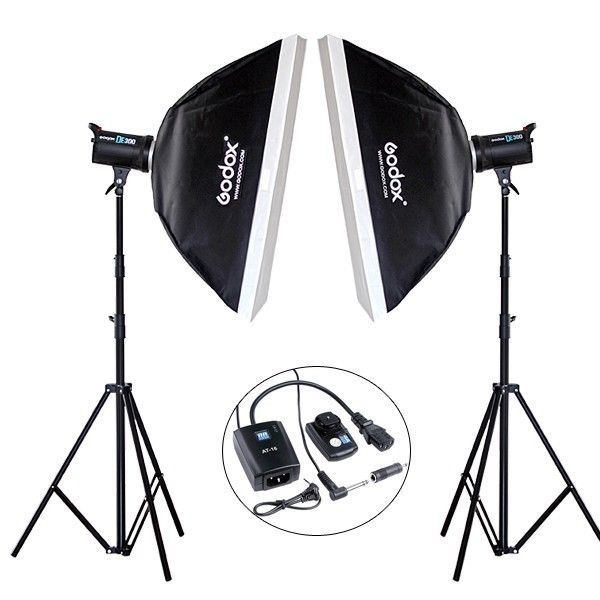 Godox 2*DE300 600W Photograp Studio flash Strobe Light Stand Trigger Softbox kit #Godox
