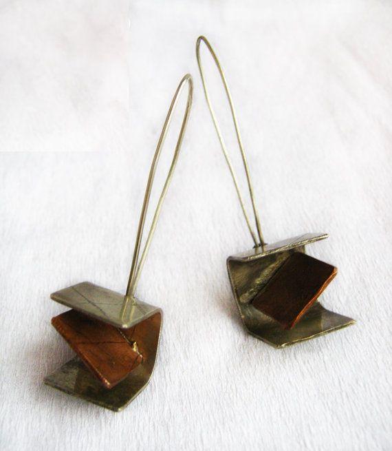 Dangle earrings  Alpaca and copper earrings  by PikipokaJewelry