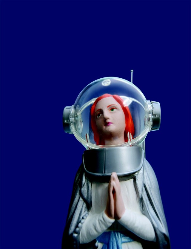 French artist / sculptor Soasig Chamaillard created a wonderful series of pop culture characters, such as Superman and a Star Wars themed Jedi Master, from found or damaged miniature statues of the iconic Virgin Mary.