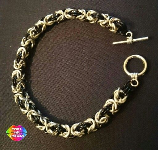 """Byzantine/Birdcage Chainmaille Bracelet <Silver/Black Two-Tone> ~£20.00~ w/ Toggle Clasp Connector Gauge 18; Inside diameter: 3.57mm, 9/64"""" #Handmade#Crafting#Byzantine#Birdcage#Chainmaille#Bracelet#Jewellery  Etsy listing**https://www.etsy.com/uk/listing/263755693/byzantine-chainmaille-bracelet"""