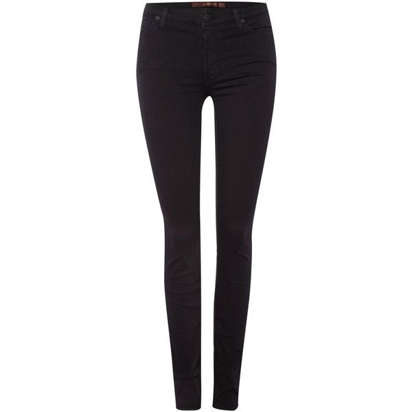 7 For All Mankind High rise skinny jean in phoenix black ($185) ❤ liked on Polyvore featuring jeans, black, women, black denim skinny jeans, skinny jeans, high-waisted jeans, stretch jeans and black jeans