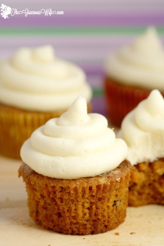These Carrot Cake Cupcakes with cream cheese frosting are delicious and moist and truly the best I've ever had.  #cupcakes #desserts From TheGraciousWife.com